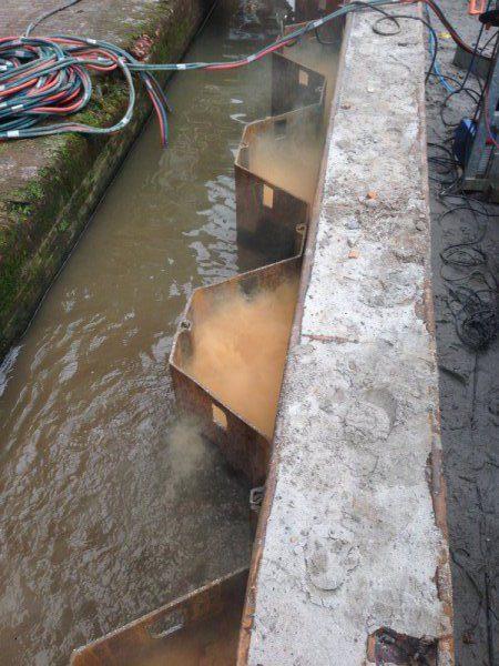 Afbranden damwand + bestaande betonnen damwand